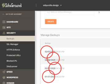 wordpress backups by siteground