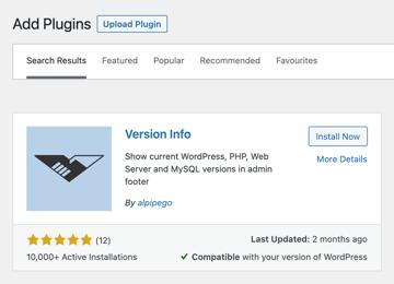 version info plugin for wordpress