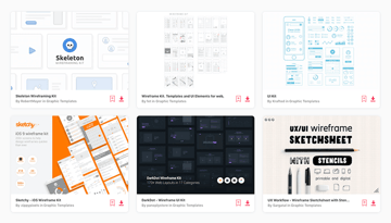 choose from 100s of wireframing kits on Envato Elements