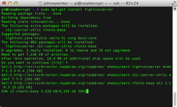 Installing tightvncserver on the Raspberry Pi