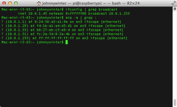 If you know the MAC address of the Pi you can find the IP address from Terminal