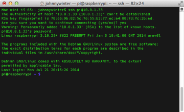 Using SSH Secure SHell to access a Raspberry Pi from a Mac