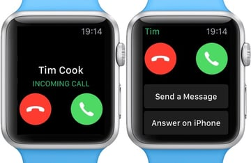 Use the digital crown to scroll down for more options on an incoming call