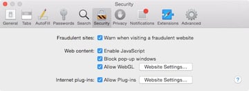 Click on Allow Plug-ins Website Settings to disable Flash in Safari