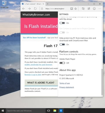 Disabling Flash in Project Spartan on Windows 10