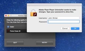 Running the Adobe Flash uninstaller on a Mac