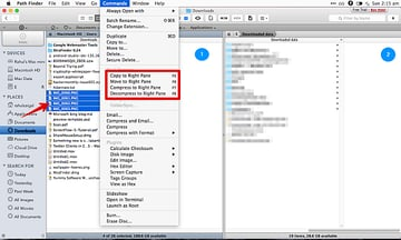 In PathFinder moving files from one folder to another is single hotkey away 1 Left Pane 2 Right Pane