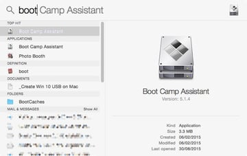 Using Spotlight to find and launch Boot Camp Assistant