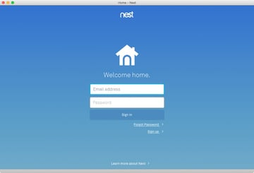 Signing in to the Nest app