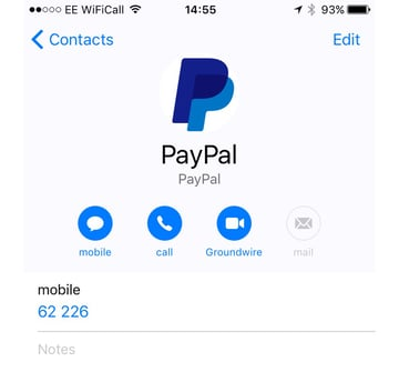 Setting up PayPal on a Contact Card on iPhone