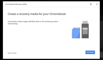 The first screen of the Chromebook Recovery Utility