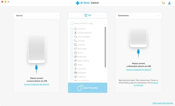 Launch the drfone Switch app and connect the smartphones via USB
