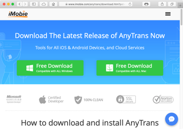 Download AnyTrans for Windows and Mac platforms