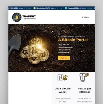 TradentCryptocurrency Bitcoin WordPress Theme