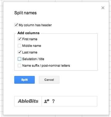 split names in sheets