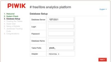 Piwik Installation Wizard MySQL Database Setup