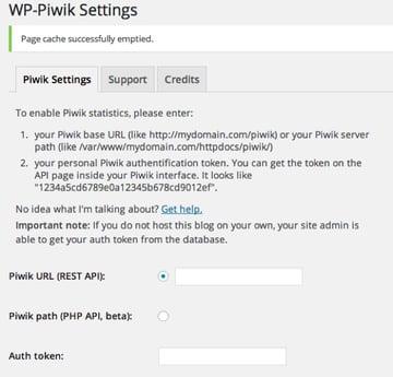 WP-Piwik Plugin for WordPress Settings