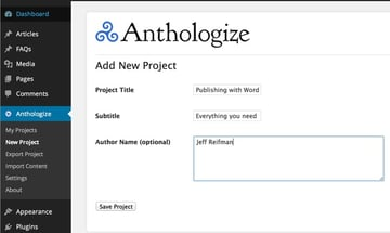 Add a new ebook project