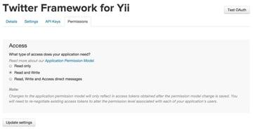 Twitter API Application Permissions