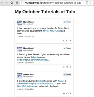 Tweet storm shown publicly on the web with OEmbed HTML