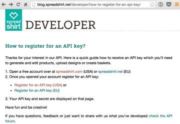 Spreadshirt API Keys