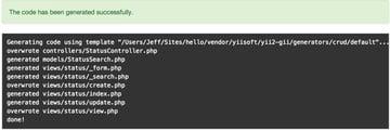 Yiis Gii CRUD Generated Code