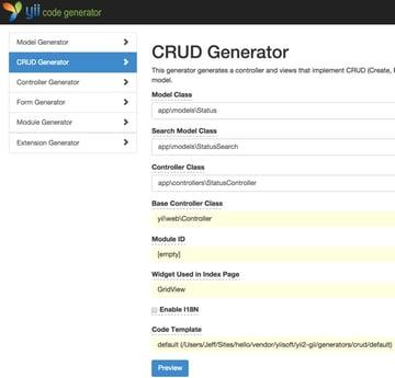 Yiis Gii CRUD Generator