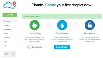 Digital Ocean Create your droplet