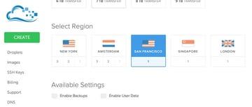 Digital Ocean Select a Region