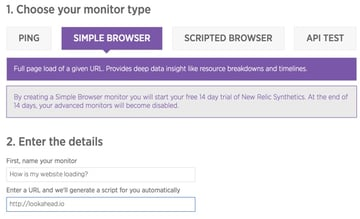 New Relic Synthetics Simple Browser Testing