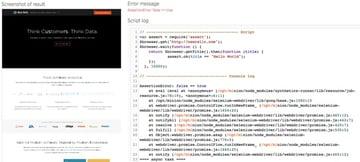 New Relic Synthetics Screenshots of Errors
