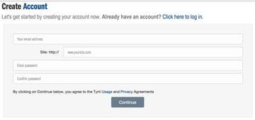 Tynt Sign Up