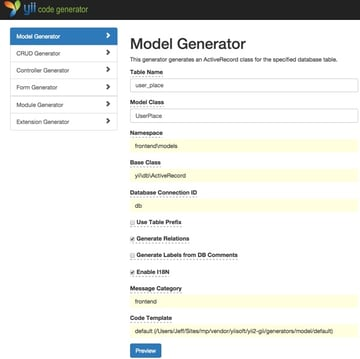 Meeting Planner Yii2 Gii Model Generator User Place