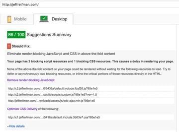 Google PageSpeed Final Desktop Score
