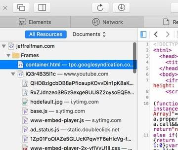 Optimizing PageSpeed - Safari Developer Console
