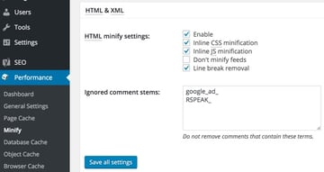 Optimizing PageSpeed - Minify HTML with W3TC