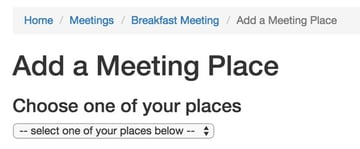 Add a Meeting Place Breadcrumbs
