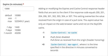 KeyCDN Expire Headers and Cache Control