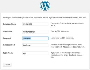 WordPress Database Connection Details