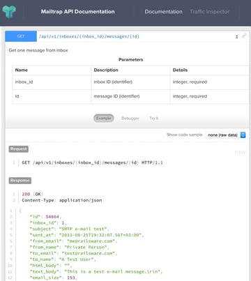 The Mailtrap API inbox message view example