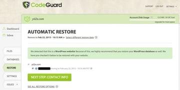 CodeGuard Automatic Restore