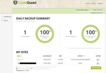 CodeGuard Backups Summary Dashboard