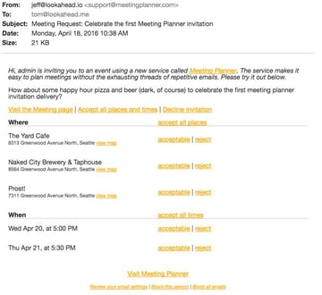Meeting Planner Invitation Example