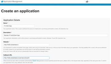 Twitter Apps Create an application