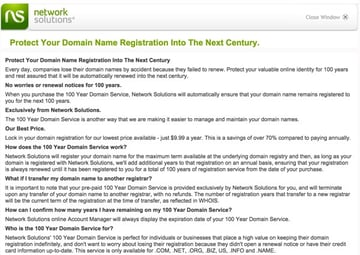 100 year Domain Renewals from network solutions