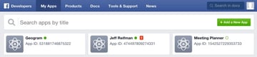 Building Your Startup OAuth - Facebook Dev Console with Apps Listed