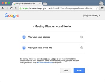 Building Your Startup OAuth - Google Permissions Page
