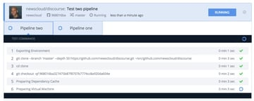 Codeship Two Pipelines Build and Test Running
