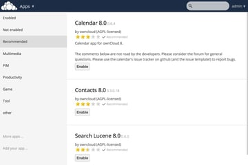 OwnCloud Recommended Apps