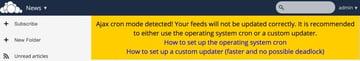 OwnCloud News App Updater Warning